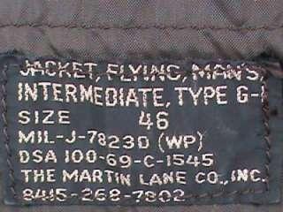 Vintage G 1 Intermediate USMC Marine Corps Flight Jacket Mens Size 46