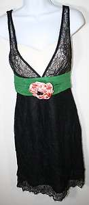 MOULINETTE SOEURS Anthropologie Black Green Lace Cocktail Dress NWT 0
