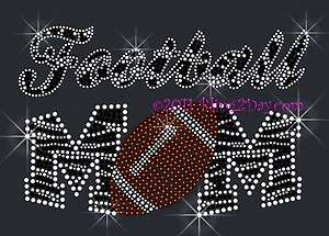 ZEBRA FOOTBALL MOM RHINESTONE IRON ON TRANSFER HOT FIX BLING SPORTS