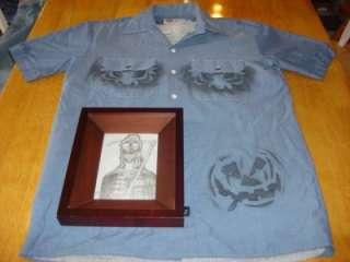 Halloween Pumpkin Mens Dickies Button Up Blue Workshirt + Grim Reaper