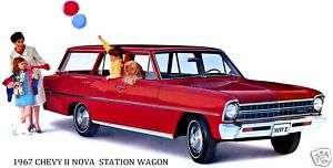 1967 CHEVROLET ~ CHEVY II NOVA WAGON (RED) MAGNET