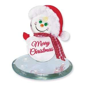 Snowman Merry Christmas Glass Figurine Jewelry