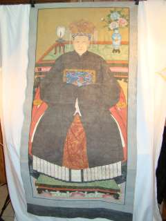 Antique CHINESE Folk Art OLD Seated ANCESTOR PORTRAIT Painting