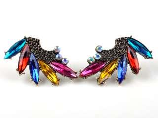 NEW fashion angel fly wings crystal multicolor rhinestone earrings