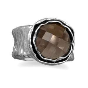 Smoky Quartz Ring Round Textured Concave Band Antiqued Sterling Silver