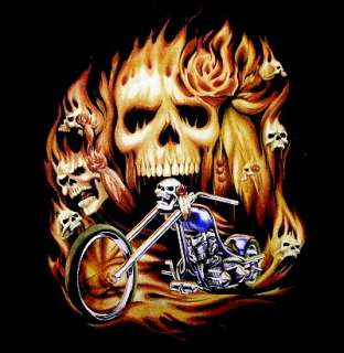 FLAMING SKULL BIKER CHOPPER FLAME MOTORCYCLE T SHIRT 19