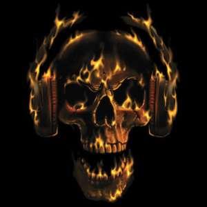 SHIRT   ROCK   FLAMING SKULL W/ HEADPHONES   SM XL