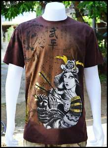Shirt Japanese Samurai Warrior Bike Rock Skate Punk Size L