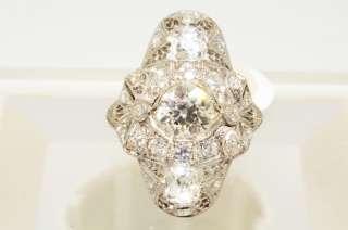 81CT ANTIQUE ART DECO OLD MINER CUT DIAMOND RING PLATINUM VS SIZE 4.25