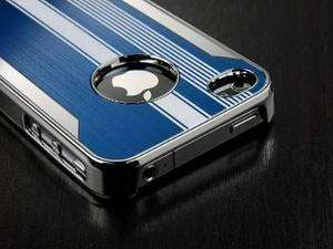 Blue Deluxe Chrome Aluminum Hard Case Cover Fr iPhone 4 4S & Protector