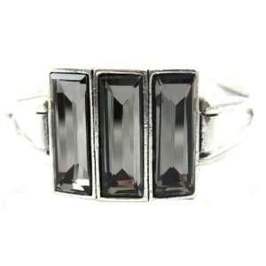 Designer Alex Carol Designer Inspired Black Swavroski Crystal 3 Stone