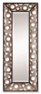 Contemporary Wall Mirror Bronze Metal Open Circles New