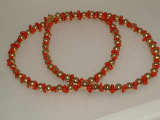 CARAT GOLD BEAD & CORAL NECKLACE 24 INCH 6MM BEADS