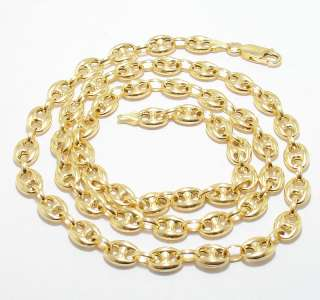 PUFFED MARINER CHAIN NECKLACE 14K YELLOW GOLD 7mm