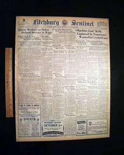 MACHINE GUN KELLY Gangster Wife Captured 1933 Newspaper