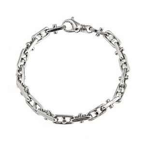 Sterling Silver Mens Handmade Bullet Link Bracelet Rhodium Plated 8