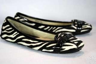 MICHAEL KORS Fulton MOC Haircalf Zebra Black/White Womens Flats Shoes