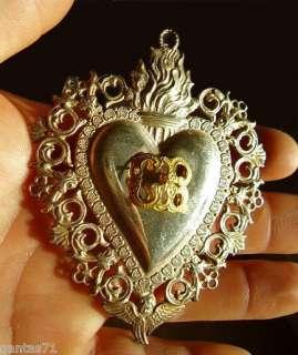 Silver icon Ex voto,flaming sacred heart,italian,G.R.