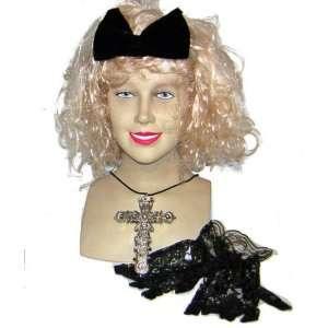 80s Madonna Fancy Dress Wig, Cross & Gloves Kit Toys