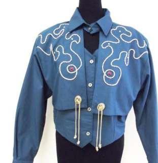 Horse Western Cowboy Show Jacket Blue Teal NWT NEW Shirt sz L