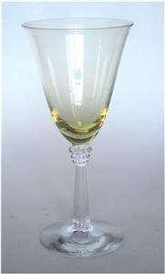 Fostoria Glass Sceptre Topaz Yellow & Crystal Deco Water Goblets Set