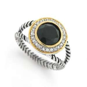 Bling Jewelry Sterling Silver Gold Vermeil pave Round CZ Black Double