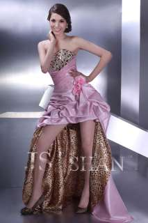 JSSHAN Pink Leopard Hot Long Prom Gown Evening Dress