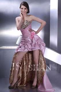 JSSHAN Pink Leopard Hot Long Prom Gown Evening Dress