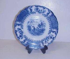 ANTIQUE FLOW BLUE GEISHA PLATE HANLEY POTTERY CO.