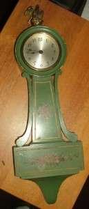 Antique Seth Thomas banjo clock original green painted working