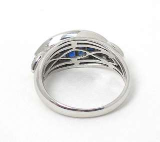 STYLISH 18k WG INVISIBLE SET SAPPHIRES DIAMONDS RING