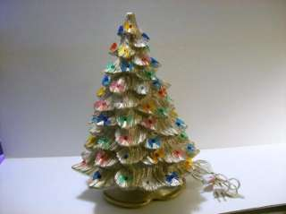 Ceramic Christmas Tree 20 Electric Bow Lights Gold Glitter Working