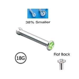 Nose Bone Ring Micro 1.5mm Peridot Light Green Gem 18G FREE Nose Ring