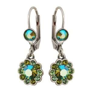 Michal Negrin Silver Coating Flower Earrings with Green