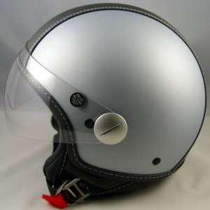 Vespa Piaggio Scooter Light Gray Copter Helmet Black Leather DOT