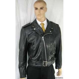 Schott Mens 44 Motorcycle Jacket Large Black Perfecto Leather w/Belt