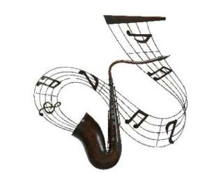 MUSICAL NOTES SAXOPHONE METAL WALL ART DECOR SCULPTURE