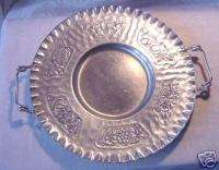 CROMWELL Hand Wrought hammered Aluminum Tray flower fruit designs VG++