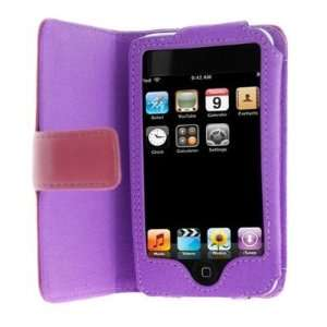 Premium Leather Flip Carrying Case for Apple iPhone Purple