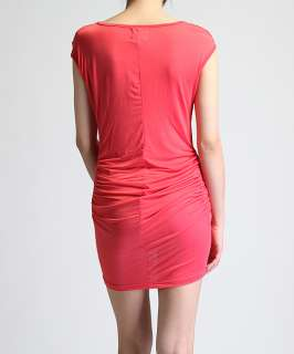 Silk Ruched MINI DRESS HOT Deep V Neck Draped Cocktail NEW
