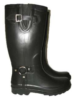 NEW WOMEN BLACK BUCKLE RAIN BOOTS SNOW BOOTS RAINBOOTS