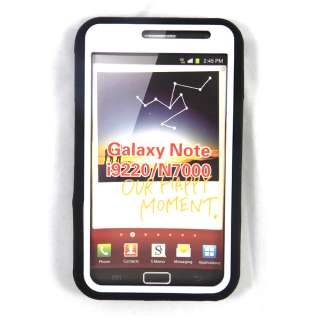 BLK/WHT AT&T Samsung Galaxy Note LTE I717 Hybrid Impact Case w/ Stand