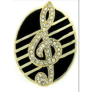 Hip Hop Bling Iced Out Gold Tone Music Note Belt Buckle