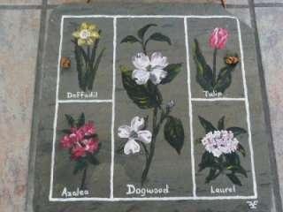 VINTAGE flower GARDEN folk art SLATE rock PAINTING Conn