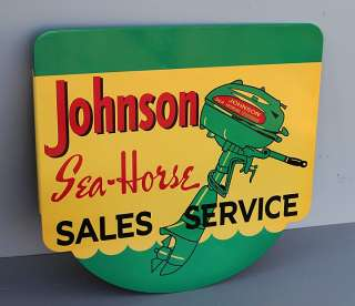 JOHNSON SEAHORSE Sales Service Flange Sign w/Outboard Boat Motor new