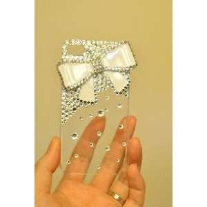 Bow Tie Pattern Hard Case/Cover/Protector(White Bow with Clear Case