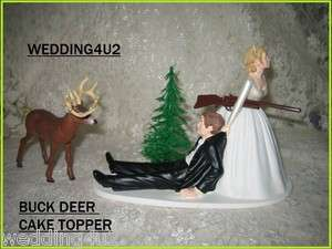 HUMOROUS WEDDING DEER HUNTER HUNTING CAKE TOPPER