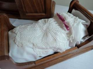 Romanian Handmade Wooden Baby Doll Furniture Crib & Wardrobe Dovetail