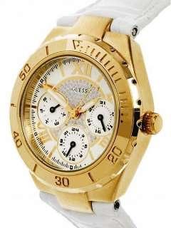 NEW GUESS ROMAN SWAROVSKI GOLD WHITE LEATHER STRAP LADY WATCH U10597L1