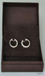 ROBERTO COIN 18K White Gold 3 Diamond Oval Hoop Earrings SALE